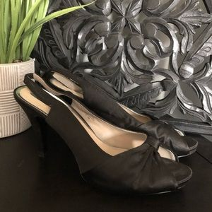 Black Satin Bow High Heels